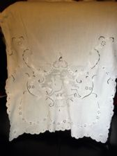 ANTIQUE EMBROIDERED WHITE COTTON FITTED TOP CHAIR BACK COVER LARGE SIZE